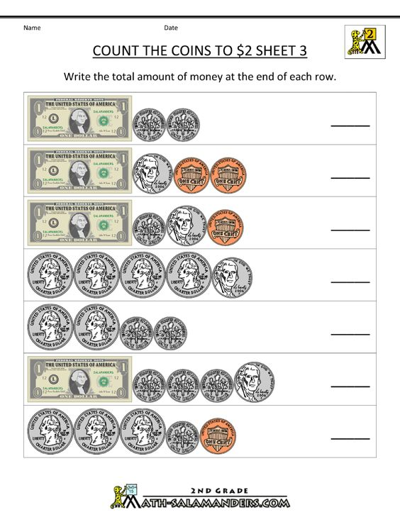 counting money worksheets count the coins to 2 dollars 3 ...