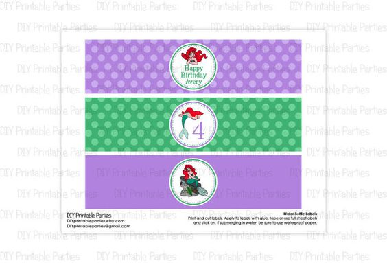 Printable DIY Purple and Green Little Mermaid Ariel Theme Personalized Happy Birthday Water Bottle Labels by DIYprintableparties, $5.00