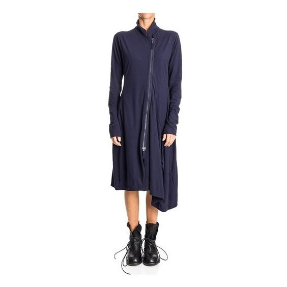 RUNDHOLZ BLACK LABEL Dress With Collar (Fall Winter 2016/17) (£205) ❤ liked on Polyvore featuring dresses, blue, blue dress, collar dress, zip dress, zipper dress and asymmetrical dress