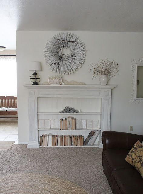 diy fireplace mantle book shelf love diy pinterest. Black Bedroom Furniture Sets. Home Design Ideas
