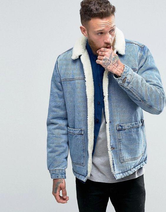 Image 1 - ASOS - Veste en jean épais avec col en fausse fourrure - Bleu délavé