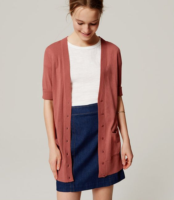 Primary Image of Short Sleeve Long Cardigan XS:
