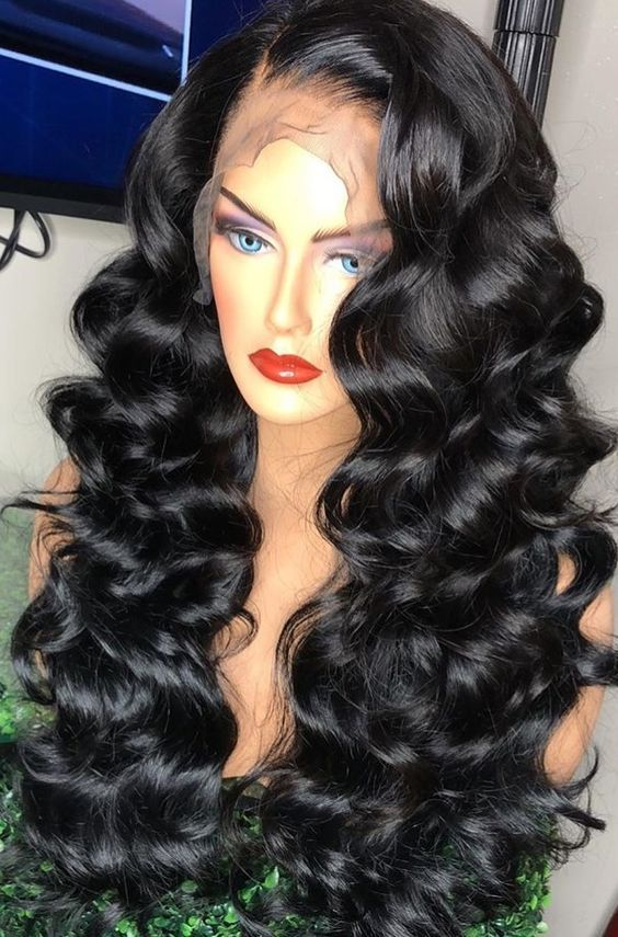 Beautiful Side Part Long Wavy Wigs For Black Women Lace Front Wigs Human Hair Wigs Hairstyles Loose Waves Hair Hair Waves Hair Styles