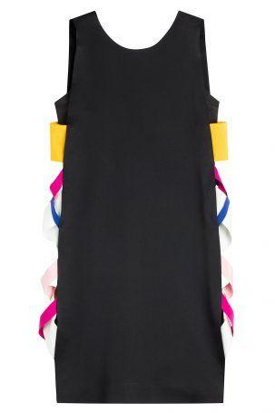 MSGM MSGM Cocktail-Kleid mit Kontrastborten – Schwarz