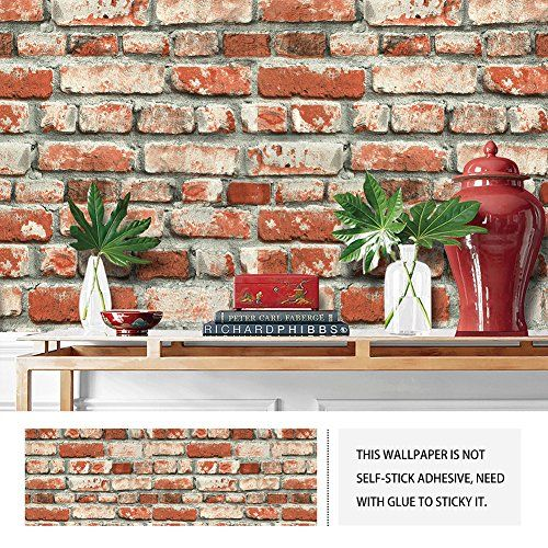 Jzhome Yt6501 Red Brick Wallpaper Roll 3d Vintage Faux Brick Panel Wallpaper For Bedroom Living Room Cafe Bar W Faux Brick Wallpaper Faux Brick Brick Wallpaper