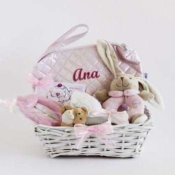CANASTILLA BAÑO PEQUEÑA PERSONALIZADA. Cesta personalizada para bebé. Canastilla personalizada para recién nacido. Cesta para regalo de bebés.