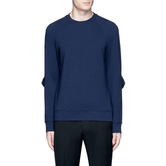 Wan Hung Woven cube elbow sweatshirt ($390) ❤ liked on Polyvore featuring men's fashion, men's clothing, men's hoodies and men's sweatshirts