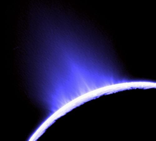 """Geysers of Enceladus  Geoff Marcy chose this photo of water geysers spouting from Saturn's moon Enceladus, taken by Cassini in October 2007. """"This is the best destination to search for life,"""" Marcy wrote. Astronomers think the geyers could indicate Enceladus harbors an ocean of water buried underneath its surface, which might support microbial life.  From mmn"""