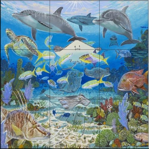 Happy Reef Cc Tile Mural Tile Murals Mural Mermaid Tile