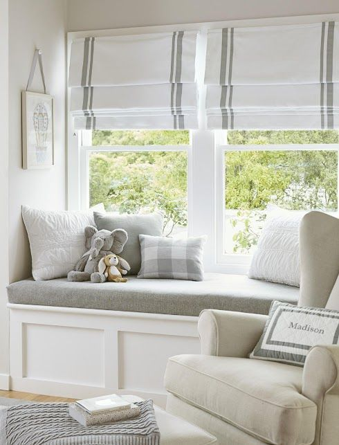 Pottery Barn Roman Shades. Love the idea of 2 shades on the big window (instead of trying to find huge blinds/shades for whole length!).
