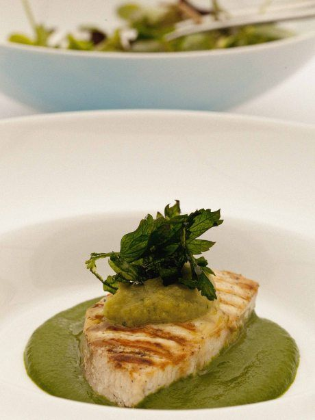heavens alive that looks amazing especially that little puree.   (Grilled swordfish, eggplant relish, spinach puree and watercress salad.)