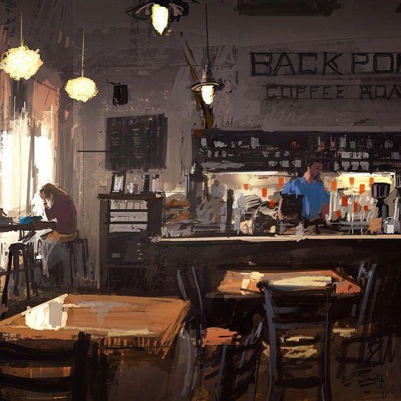 Artstation Back Porch Coffee Donald Yatomi Interior Art
