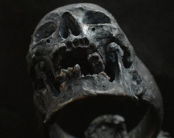 Skull ring Mid size half jaw with black gemstones by Bakogiorgis