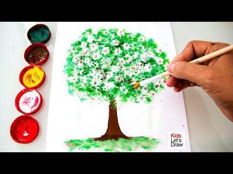 Como Dibujar Y Pintar Un Arbol Con Acuarelas Y Brillantina
