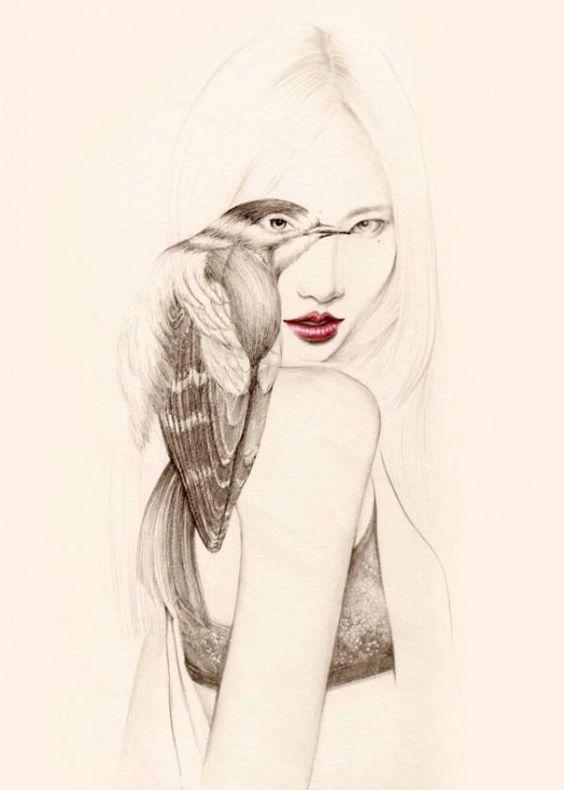 Cultura Inquieta - Delicados dibujos a pluma y lápiz de muchachas con pájaros