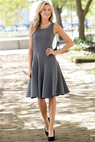 Gray Fit-And-Flare Dress. Slightly less full skirt, and more sleeveless than tank top straps. But pretty similar.
