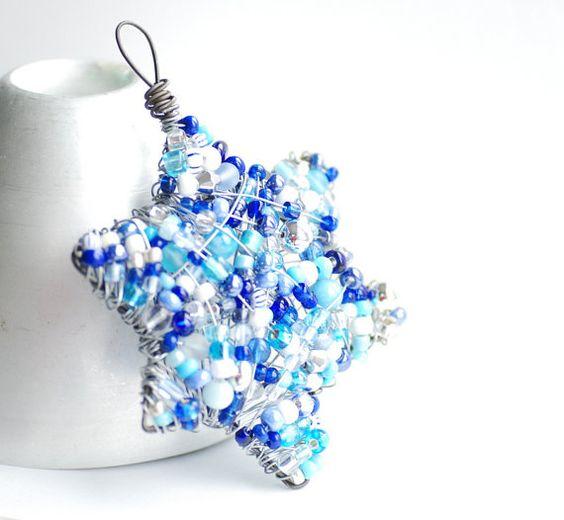 Hanukkah Ornaments, Star of David, Dreidel Ornament, Set of 2, Blue White and Silver, Beaded Ornaments, 6 Point Star, Hanukkah Decorations