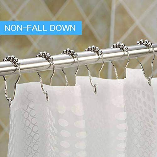 Never Rust Shower Curtain Rod With Free Set Of 12 Curtain Rings