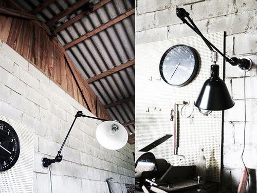 Industrial-style lighting.