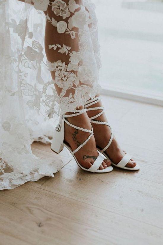 Low Block Heel Wedding Sandals With Braided Lacing Up Wanita