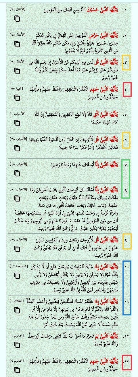 يا أيها النبي ثلاث عشرة مرة في القرآن ثلاث مرات يا أيها النبي قل مرتان يا أيها النبي إذا مرتان يا أيها النبي إنا Save Quran Bullet Journal