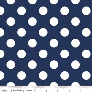 Riley Blake Designs - Flannel Basics - Medium Dots in Navy; to make crib rail bumpers