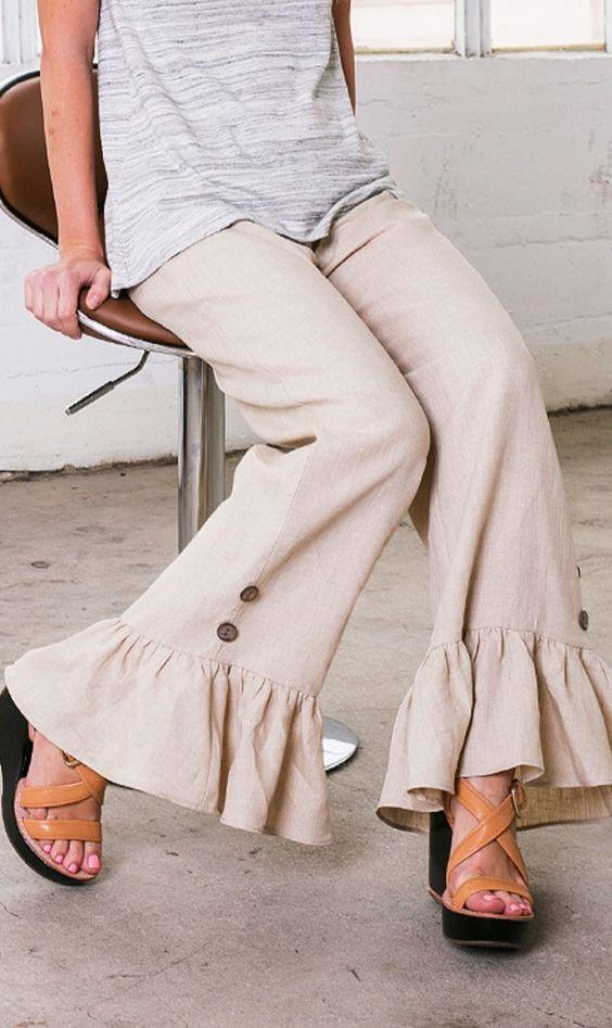 Ruffle Linen Pant