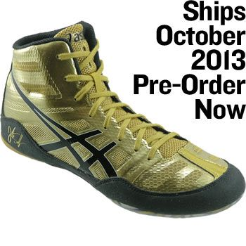 Gold/Black/White Jordan Burroughs Elite Wrestling Shoes ...