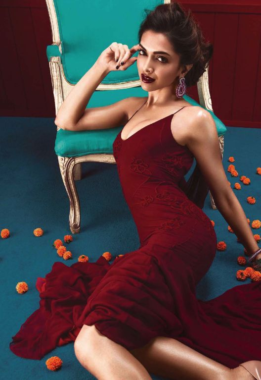 Deepika Padukone the heart thorn of the nation is seen in a sensual avatar in a dark red dress.Hot Ladies in Shades of Red