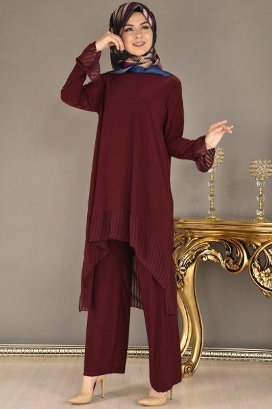 Modamerve Sifon Detay Tunik Pantolon Kombin Bordo Rag 3241 Moda Stilleri Giyim Moda