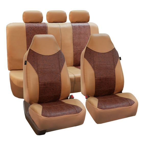 fh group tan brown pu textured leather auto seat covers full set by fh group products. Black Bedroom Furniture Sets. Home Design Ideas