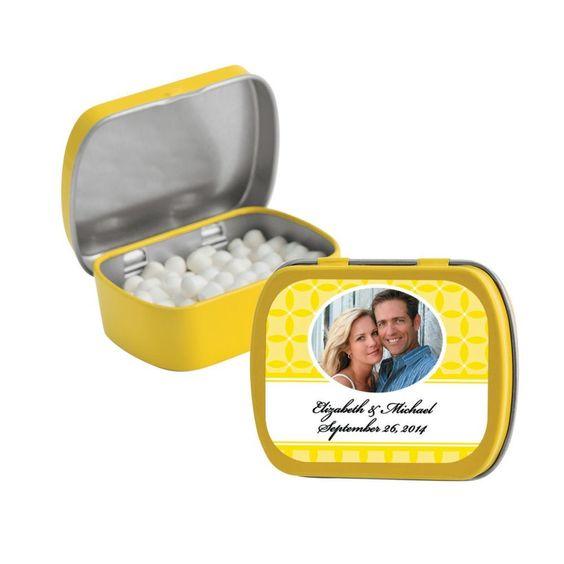 Yellow Wedding Design Custom Photo Mint Tins