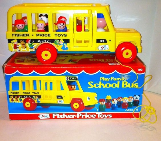 Vintage Fisher Price 192 Pull Toy School Bus Little People ...