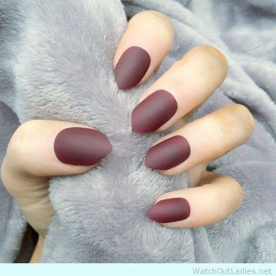 Home Blend Of Bites Stiletto Nails Short Burgundy Nails Burgundy Matte Nails