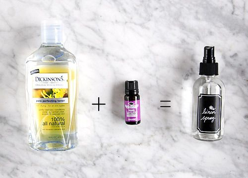 Linen Spray: 8–10 drops lavender essential oil, 2 tsp witch hazel, 1 cup distilled water