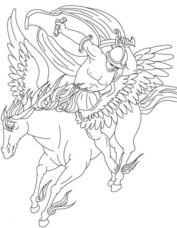 Bellerophon On His Pegasus Coloring Page Netart Cartoon Coloring Pages Coloring Pages Animal Coloring Pages