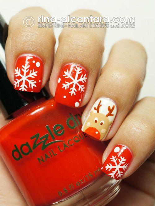 Rudolph Plays With Snowflakes Nail Art Design #nails #nailart #christmas