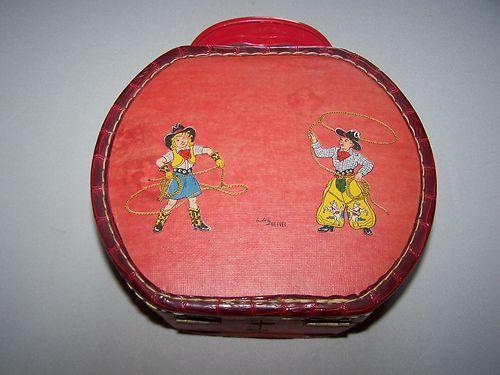Vtg Childs Cowboy Cowgirl Toy Box, Purse