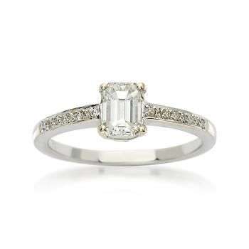 C. 2010 Vintage .67 Carat Diamond Solitaire Engagement Ring With Diamonds In 18kt White Gold. Size 6