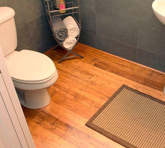 Mocha Fossilized Bamboo Flooring in a half bathroom