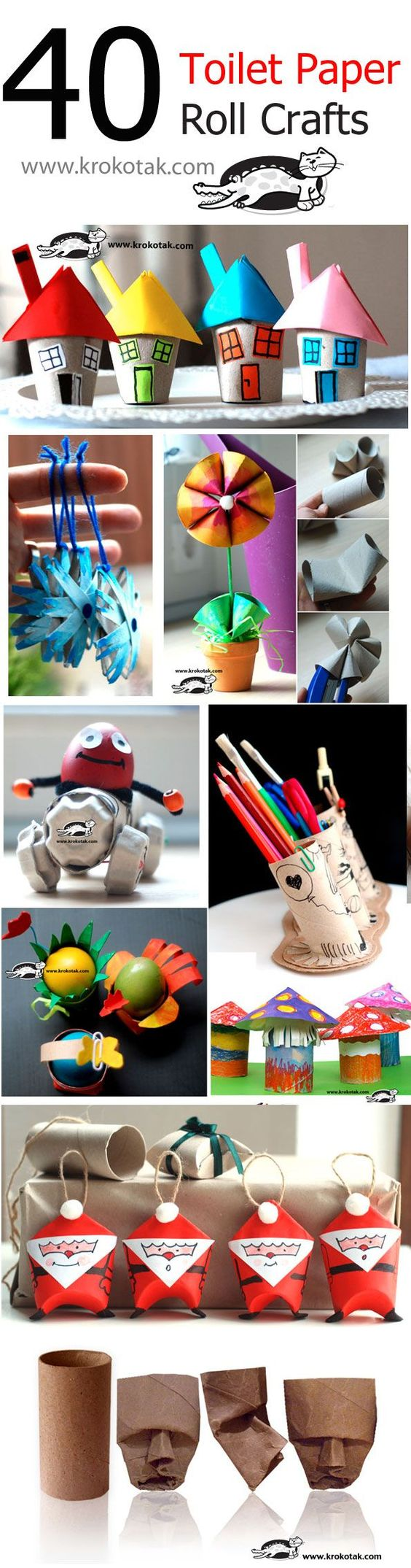40 Toilet Paper Roll Crafts that are just awesome!  Check out the fat Santa ornaments or gift wrapping decorations!: