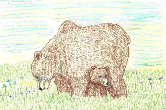 Mom and cub grazing