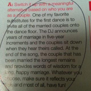 I have heard about calling up couples to dance by the years but I like this idea a lot....alternative for first dance