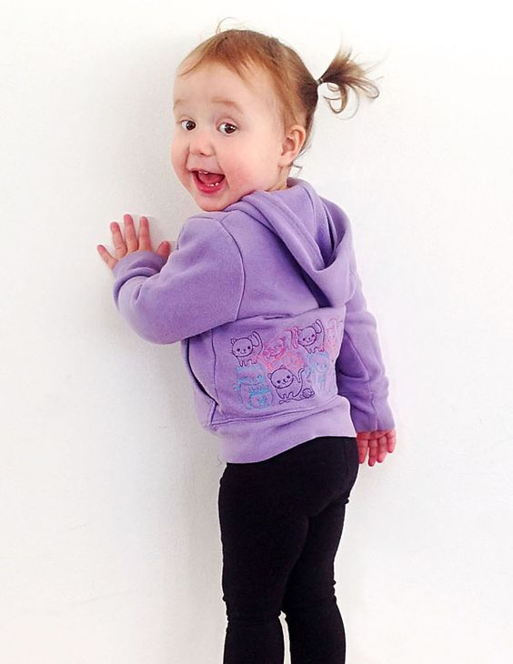 Tutorials | Urban Threads: Easy and adorable kids kitty hoodie using overlapping designs!