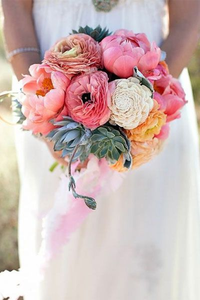 Flower Guide: Peonies | Wedding Planning, Ideas & Etiquette | Bridal Guide Magazine: Peonies Succulents, Wedding Ideas, Wedding Bouquets, Succulent Wedding, Beautiful Color, Wedding Flowers, Peonies Bouquet