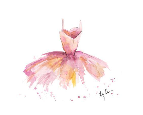 Pink Watercolor Ballet Dress Print by LizLaneArt on Etsy