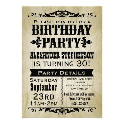 Rustic Vintage Country Birthday Party Invitation from Zazzle – Zazzle Party Invitations