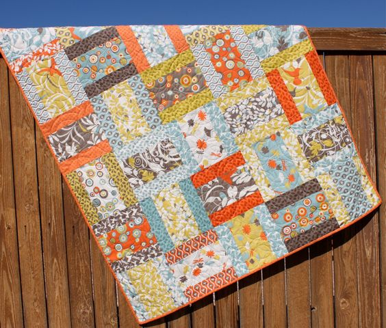 Arcadia Lap Quilt Brown Orange Blue Chartreuse by JennyMsQuilts