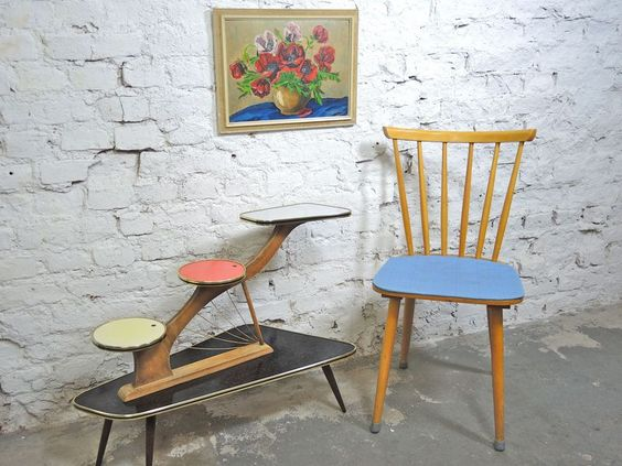 50er,+60er+Jahre+Speichen+Stuhl+mit+blauem+Sitz+von+LOFT+43+auf+DaWanda.com