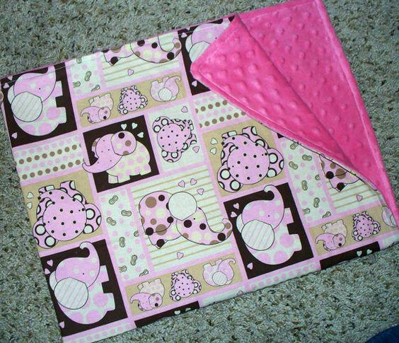 LOVE: Baby Blanket / Polka Dot Elephants & Pink by LittleTexasBabes